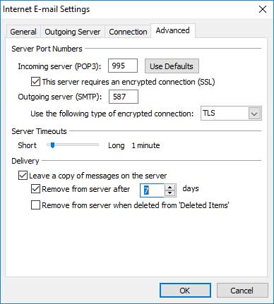 Screen shot of setting up outlook for email POP and SMTP